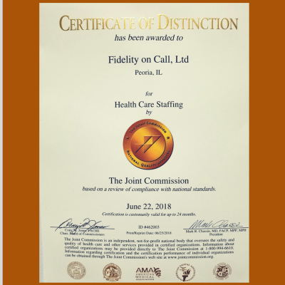 Fidelity On Call Receives 2018 Joint Commission Certificate of Distinction