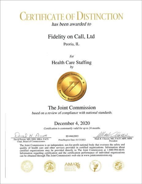 The Joint Commission 2020 certification and Gold Seal